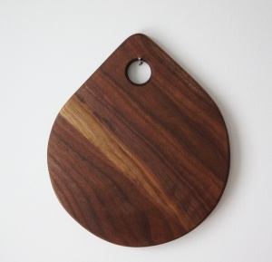 Walnut tear drop cutting board serving